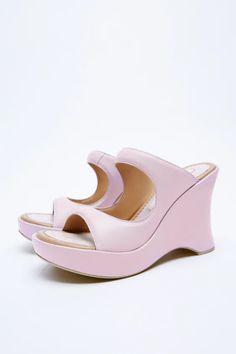 Leather Wedge Sandals, Leather Wedges, Leather Heels, Wedge Heels, Zara United States, Walking, Toe, United Kingdom, Pink