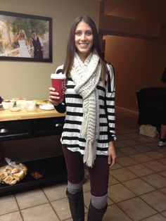 Such a cute outfit! Maroon leggings, boot socks, boots, and a splash of pattern. Compliments of my friend meesh