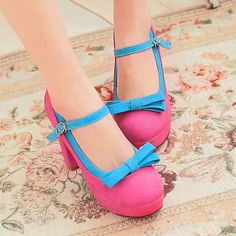 Women Thick High Heel Sweet New Bow Cute Retro Mary Janes Plus Size Sandal Shoes #Fashion #StrappyAnkleStraps