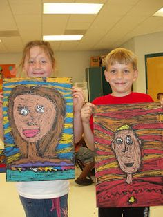 Fabulous First Grade! Self portrait on black paper, outlined with Elmer's glue and then colored with pastels