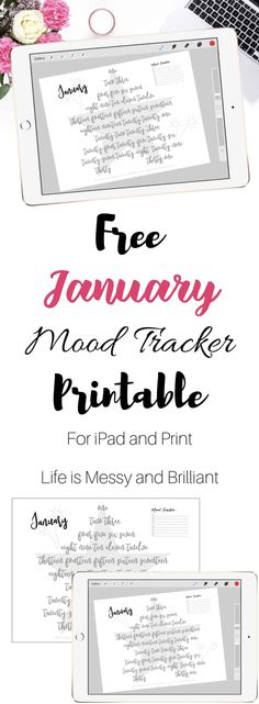 January mood tracker, bullet journal mood tracker, hand lettering practice, hand lettering worksheets