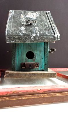 Rustic Aqua BIRDHOUSE with Recycled Barnwood Vintage Architectural Salvage. rusty primitive repurposed OOAK