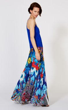Digital floral print pleat maxi skirt