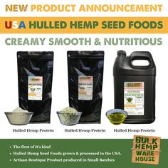 NEW! Product Announcement: USA Hulled Hemp Seed Foods. Experience creamy, smooth, delicious and nutritious hulled hemp seeds, protein and oil today! Oil Today, Hemp Hearts, Hemp Protein, Hemp Seeds, Warehouse, Announcement, Smooth, Foods, Usa