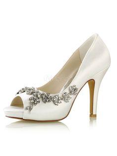 a9eaffafb85276 Women Wedding Shoes Ivory Bridal Shoes Peep Toe Rhinestones Slip On High  Heels  weddingshoes Wedding