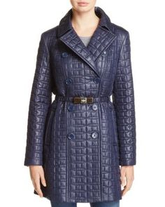 kate spade new york Bow Quilted Trenchcoat | Bloomingdale's