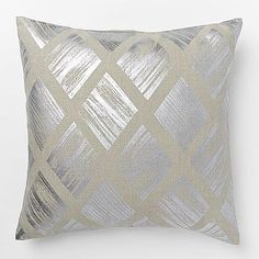 Metallic  Diamond Pillow Cover, Silver.  Sophisticated in silver. Crafted of 100% linen, the Metallic Diamond Pillow Cover is based off of artwork by renowned British designer Sarah Campbell. Putting a glamorous spin on a classic pattern, this cover is great to mix and match with other metallic accents for a luxe look.