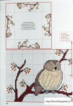 ru / Picture # 175 - Rico 107 - Part 2 Cross Stitch Owl, Cross Stitch Numbers, Just Cross Stitch, Cross Stitch Alphabet, Cross Stitch Animals, Cross Stitch Charts, Cross Stitch Designs, Cross Stitching, Cross Stitch Embroidery