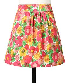 Yellow & Pink Floral Skirt by Tulle