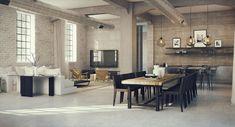 Arredare un open space cucina soggiorno industriale 09