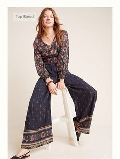 Petite Farm Rio for Anthropologie Giuliana Wide-Leg Jumpsuit in Assorted Size: Xs P, Women's Jumpsuits Skirt Outfits, Fall Outfits, Party Outfits, 70s Outfits, Classy Outfits, Boho Fashion Over 40, 70s Fashion, Ladies Fashion, Fall Fashion
