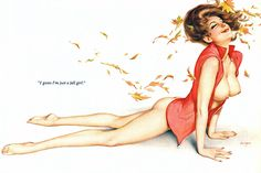 """I guess I'm just a fall girl."" Alberto Vargas / illustration for Playboy, October 1973."