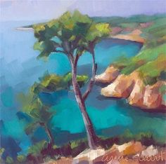 "Daily Paintworks - ""Provence by the Mediterranean"" - Original Fine Art for Sale - © Anne Ducrot"