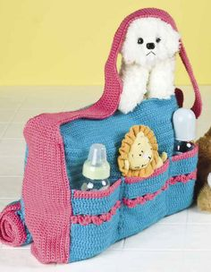 Crochet Baby Bag Free Pattern - You will need to join the site as a member to… Diaper Bag Patterns, Baby Patterns, Crochet Patterns, Crochet Handbags, Crochet Purses, Crochet Dolls, Baby Doll Accessories, Crochet Accessories, Baby Set