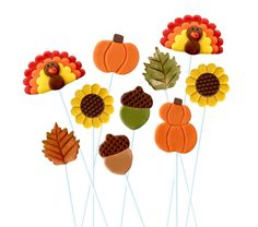 Thanksgiving Marzipop™ Artisan Marzipan Lollipops!  Thanksgiving Place Settings and Hostess Gift! Pumpkins, Turkeys and more! by marzipops on Etsy