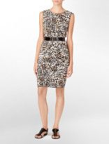 belted faux-wrap printed dress