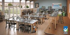 What a great science lab. Abundance of natural light, access to additional outdoor learning space, and multiple learning zones. I really like the two media sharing tables integrated into the bookcase space at the back of the room. The standing height science tables on the platform are becoming popular for student use as well. #STEM Sold by School Specialty.