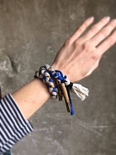 Excited to share the latest addition to my #etsy shop: Cuff bracelet Brass driftwood bracelet Triple blue bracelet Braided bracelet Gift for her Boho chic jewelry Gold blue bracelet Surf style