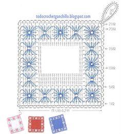 Crochet and embroidery ~ DIY Tutorial Ideas! Crochet Potholder Patterns, Crochet Motifs, Crochet Dishcloths, Crochet Diagram, Crochet Squares, Filet Crochet, Crochet Doilies, Crochet Kitchen, Crochet Home