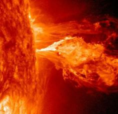 at approximately UT, a magnetic filament erupted from the sun's western limb. NASA's Solar Dynamics Observatory captured this high-resolution image of the blast: Sun Solar, Planets And Moons, Dwarf Planet, Weather News, Shock Wave, Moon Rock, Magnetic Field, Space Images, Ancient Aliens