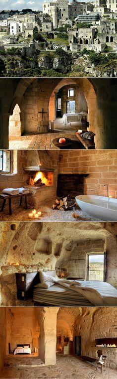 Sextantio le Grotte Della Civita Cave Hotel - Sassi di Matera | Italy. Carved inside a prehistoric cave.