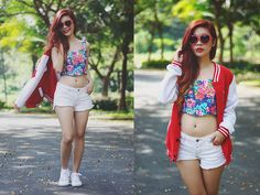 Zero Uv Heart Shapped Sunnies, Betty Floral Crop Top, True Love White Denim Shorts, World Balance Vanity Shoes