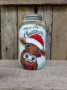 Moo-ey Christmas Cow Mason Jar, Painted Mason Jar, Christmas Cow, Chalk Painted Mason Jar, Jersey Co Painting Glass Jars, Chalk Paint Mason Jars, Painted Mason Jars, Handmade Christmas Crafts, Diy Christmas Garland, Christmas Ideas, Halloween Mason Jars, Christmas Mason Jars, Mason Jar Gifts