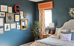 fun bedroom gallery wall via 6th Street Design School: Feature Friday: Lacquer