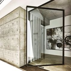 Off form concrete walls pivot doors with views overlooking Sydney harbour - that's what you call a trifecta . architecture by MHNDU by contempoperth Home Design, Modern House Design, Decor Interior Design, Interior Decorating, Design Salon, Villa Design, Architecture Design, Pivot Doors, Steel Doors