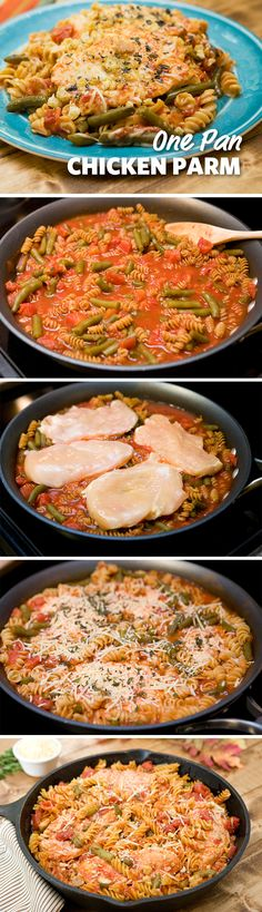 One Pan Chicken Parmesan: This one pan chicken parmesan recipe is quick and easy for a weeknight meal. Boneless chicken breasts topped with crushed garlic croutons eliminate the frying and leaves a most and delicious dish. Serve with your favorite pasta for a complete meal the family will love. #FoodLion