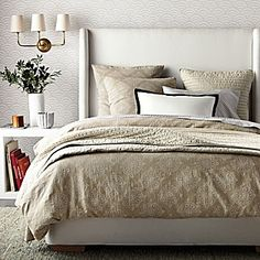 Serene and beautiful bedroom, very nice bed. (Lune Duvet & Sham | Serena & Lily ) Find more feng shui decor tips: http://FengShui.About.com