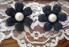 Royal Blue Rhinestones & Pearls Flower Earrings Clip On...Just $6 at BestDressedPoorGirl