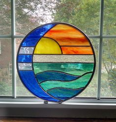 Moon and Sun Over Water Round Stained Glass Panel - Sunset - Suncatcher - Beach Decor - Coastal Art - Housewarming Gift - Nautical Decor by StainedGlassYourWay on Etsy