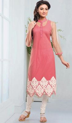 Looking terrific with this beige and rose pink shade net tunic. You'll see some intriguing patterns carried out with patch and resham work. #SexyPinkStandPattiCollaredKurti