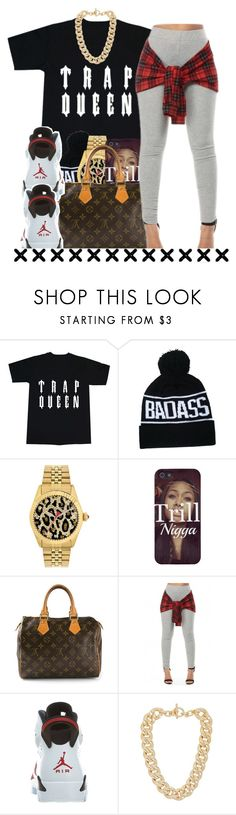 """""""She my trap queen, let her hit the bando"""" by diane-corporan ❤ liked on Polyvore featuring Betsey Johnson, Louis Vuitton, NIKE and Michael Kors"""