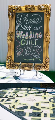 Wedding Quilt Guest book! Awesome idea! Image: Silver Lights Studio