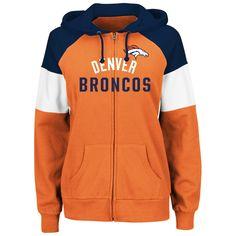 9453206c38ff5 Women s Denver Broncos Majestic Orange Hot Route Full-Zip Hoodie