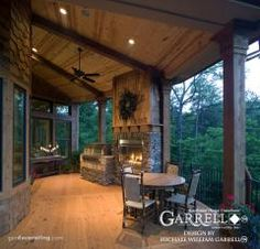 Learn about the current trends and statistics on fireplaces in new homes, and see if a house plan with an indoor or outdoor fireplace is right for you. Outdoor Rooms, Outdoor Living, Indoor Outdoor, Outdoor Balcony, Outdoor Kitchens, Balcony Deck, Future House, Mountain House Plans, Mountain Cottage