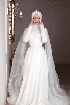 Muslim Wedding Gown, Muslimah Wedding Dress, Muslim Wedding Dresses, Wedding Dress Trends, Wedding Dress Sleeves, Dream Wedding Dresses, Bridal Dresses, Hijabi Wedding, Dress Muslimah