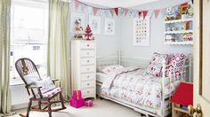 Children's Pale Blue Bedroom with Bunting