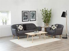 Przedsprzedaż - Sofa Denver I szara Love Seat, Minimalism, Couch, Living Room, Interior Design, Chair, Table, Furniture, Home Decor