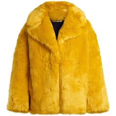 Diane Von Furstenberg Oversized faux-fur jacket (€455) ❤ liked on Polyvore featuring outerwear, jackets, coats, fur, coats & jackets, yellow, open front jacket, diane von furstenberg jacket, faux fur jacket and yellow jacket