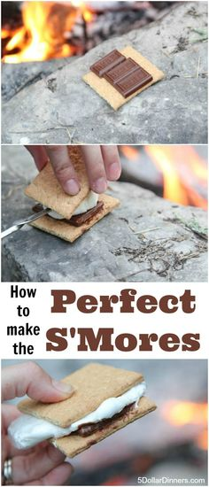 Summer is all about camping to me and camping is all about the perfect foods including the King of Camping Desserts: the S'more! | 5DollarDinners.com