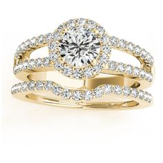 Allurez Diamond Split Shank & Curved Band Bridal Set 14k Yellow Gold... ($3,335) ❤ liked on Polyvore featuring jewelry, rings, yellow, 14k diamond ring, yellow gold diamond ring, gold wedding rings, band rings and round cut engagement rings