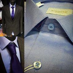 Голубая рубашка с небольшой текстурой и серый кашемировый пиджак в клету. Узел галстука - Принц Альберт #сорочка #otokodesign #мужскойстиль #мужскаяодежда #рубашка #москва #павелецкая #шоппинг #покупки #пиджак #casual