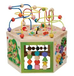 Garden Activity Cube. Complete with six sides of activities to play with, from counting beads, spinning gears, magnetic shape sorter, peg maze, sliding pegs, and spinning shapes.