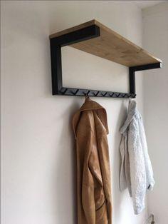 Industrial Coat Rack with Shelf [Bespoke size]- - Industrial Coat Rack with Shelf [Bespoke size] by DandWfurniture on Etsy Welded Furniture, Industrial Design Furniture, Iron Furniture, Loft Furniture, Steel Furniture, Home Decor Furniture, Furniture Projects, Furniture Design, Industrial Coat Rack