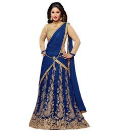 Buy Blue embroidered net unstitched lehenga-choli lehenga-choli online