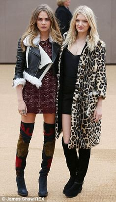 Cara Delevingne shuns her usual tomboy style at the Burberry AW15 show #dailymail