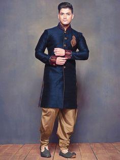 Shop Exclusive navy plain raw silk wedding wear men Kurta suit online from India. Mens Fashion Summer Outfits, Men Fashion Show, Mens Fashion Suits, Men's Fashion, How To Wear Blazers, Blazers For Men, Disney Family, Indian Wedding Suits Men, Mens Fashion Sweaters